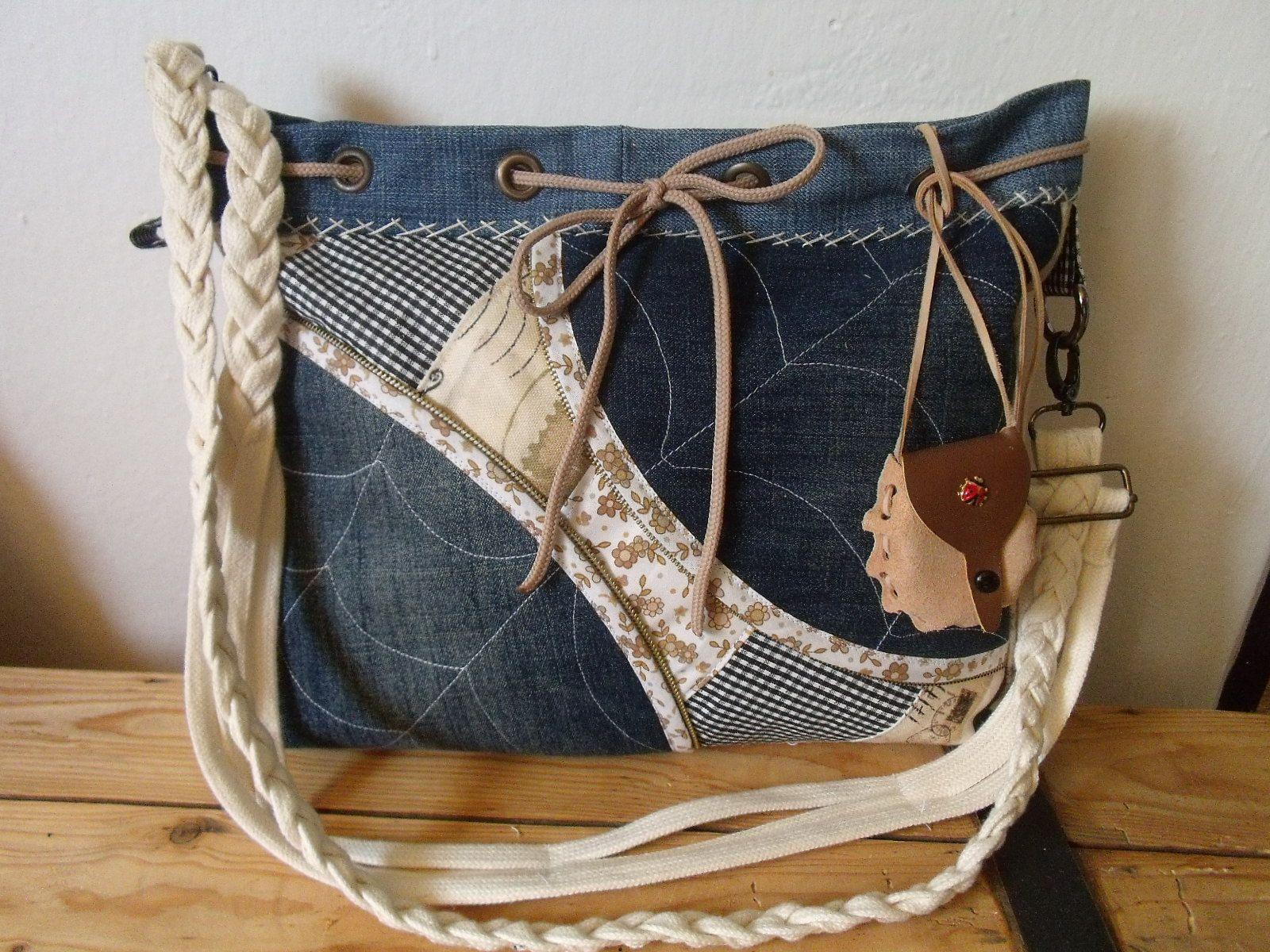Riflová+kabelka+kabelka+je+ušitá+ze+100%+látky+vyztužená+uvnitř+tři+ ... 58f5f707ff6
