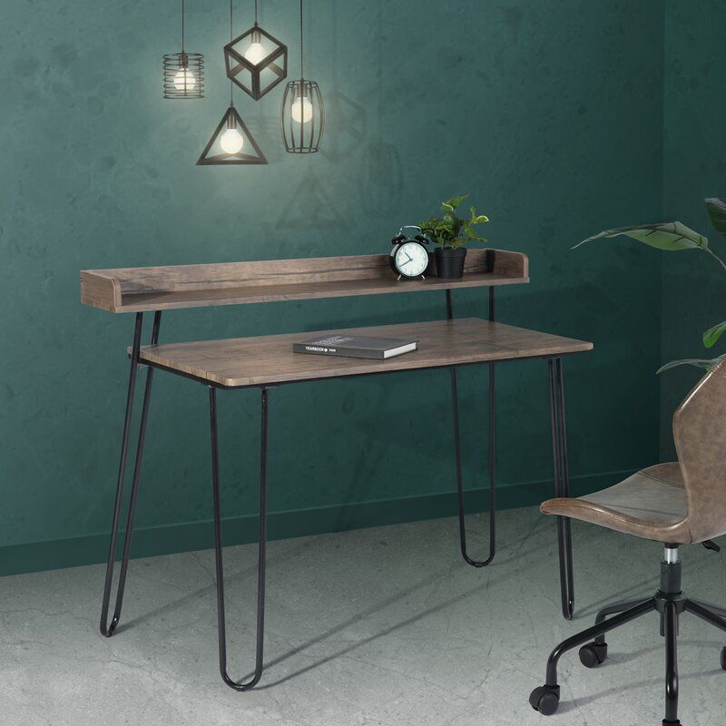 Wrought Studio Nobles Rectangular Desk Ad Ad Affiliate Studio Desk Rectangular Wroug Computer Desk With Shelves Brown Computer Desk Ottoman Table