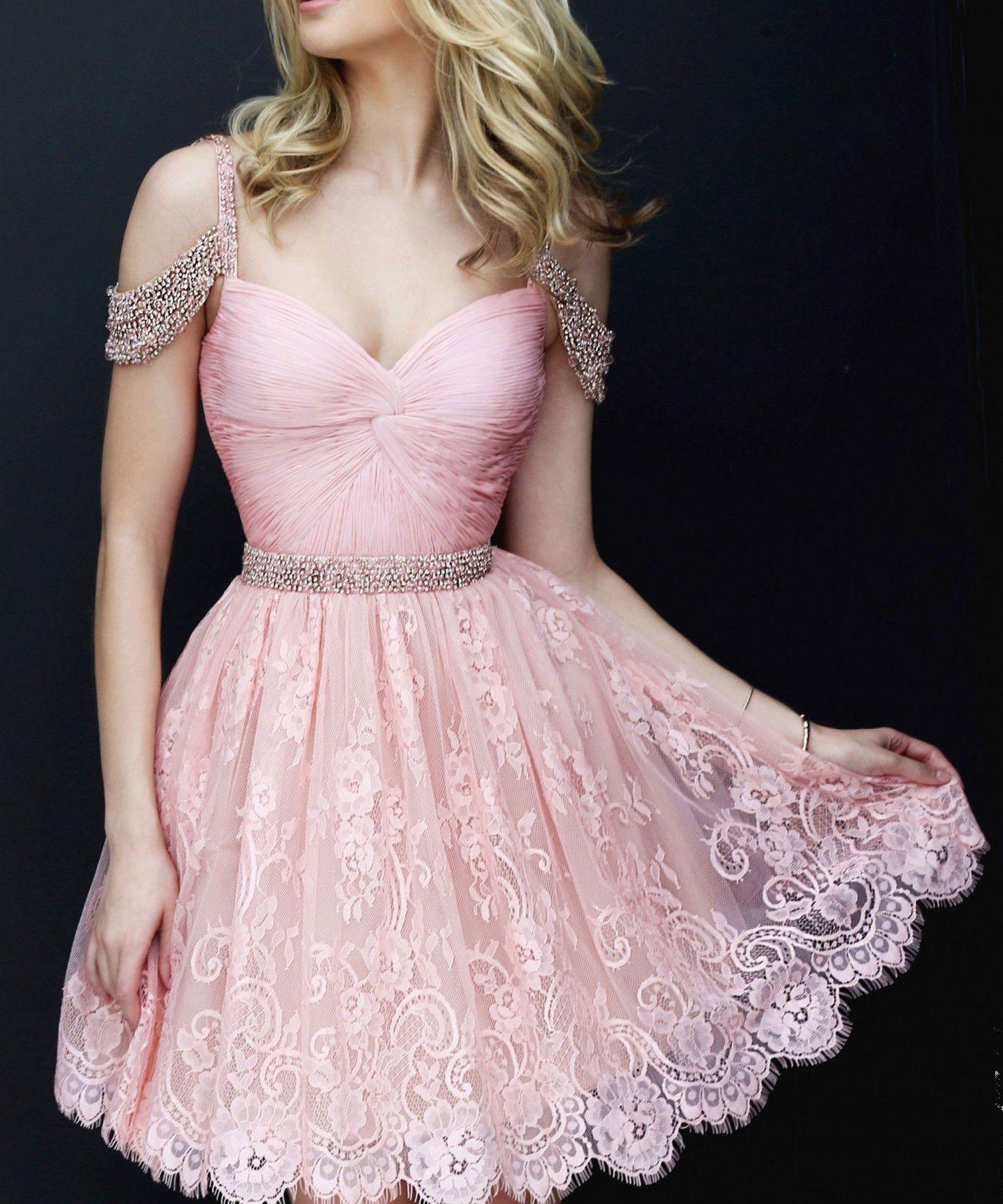 4a67120e5db 2018 Sweet Lace Pink Homecoming Dress