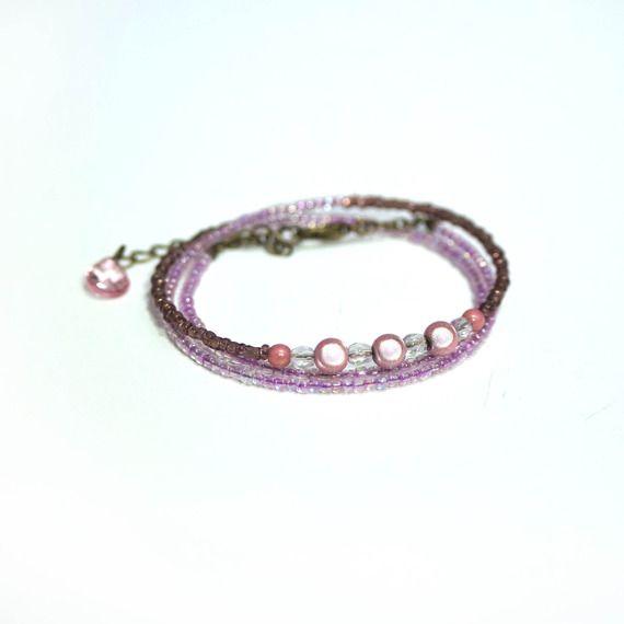 Bracelet wrap 3 tours violet #2