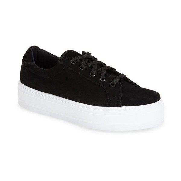 Topshop 'Camden' Platform Sneaker (315 ARS) ❤ liked on Polyvore featuring shoes, sneakers, black, platform sneakers, platform shoes, lacing sneakers, topshop and lace up sneakers