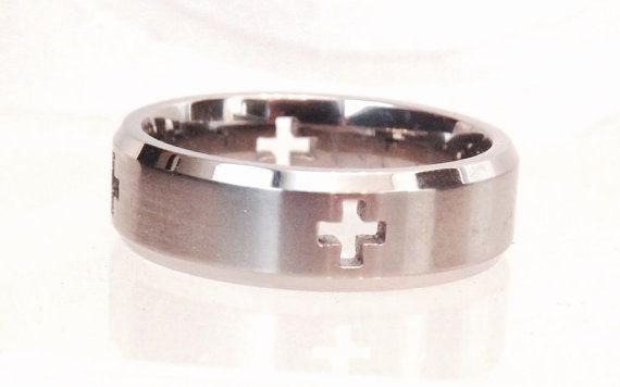 Titanium Mens Cross Band/ Size 10 by EclairJewelry on Etsy