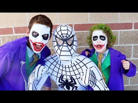 The Amazing White Spiderman Vs Joker Boy Joker In Real Life Superhero Battle