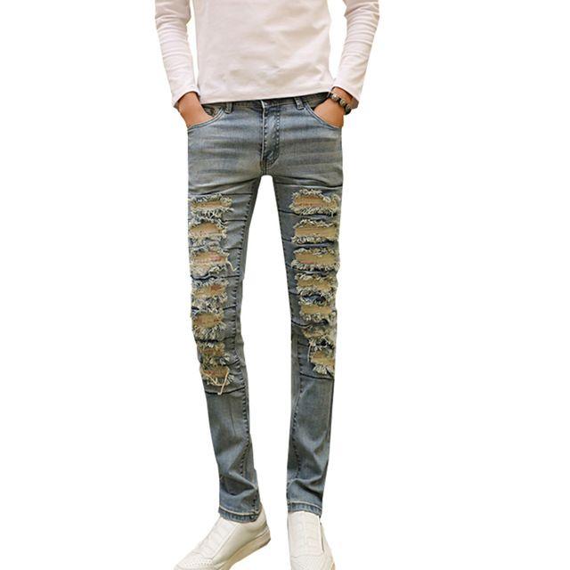 2c81c822c7d08 Mode Jeans Hommes Détruits Denim Jeans Avec Trous Denim Skinny Slim  flexible Jean Rayé Biker Jeans