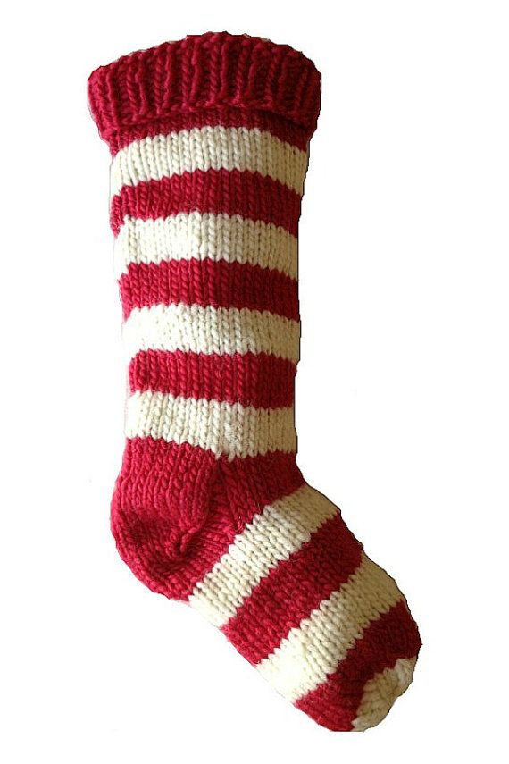 Knit Pattern For Striped Christmas Stocking : Hand Knit Christmas Stocking Hand Knit Red and Natural White Striped Santa So...