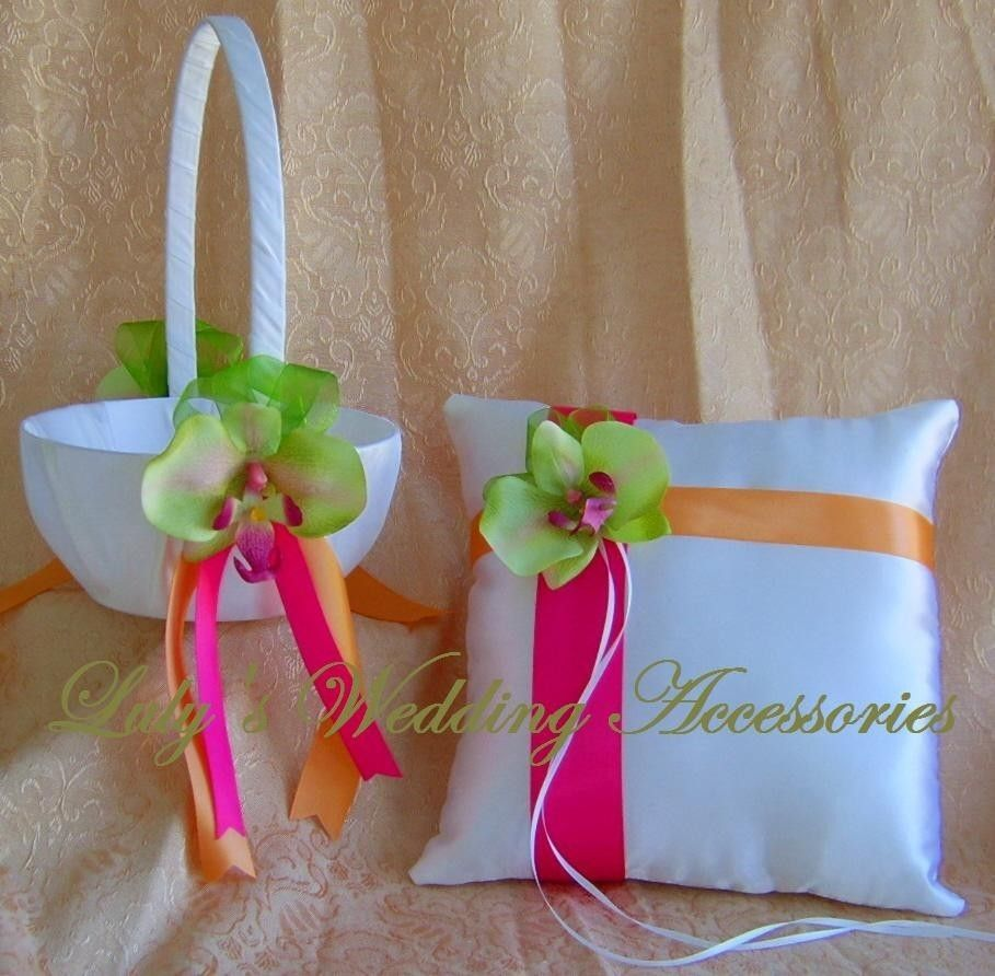 Lime green hot pink and orange wedding colors chartreuse orchids lime green hot pink and orange flower girl basket and ring bearer pillow set mightylinksfo Images