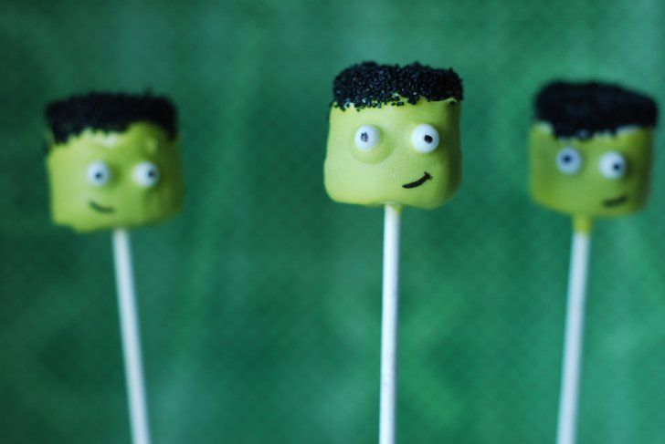 Frankenstein Cake Pops These cake pops make Frankenstein look anything but scary! Source: Sweet Cheeks Tasty Treats