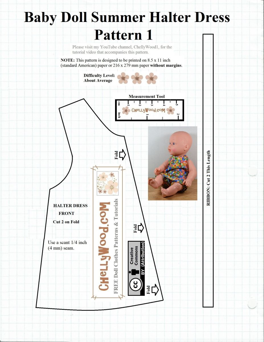 This Is The First Of Two Free Printable Sewing Patterns Click Here For Easy Copy Paste Baby Doll Clothes Patterns Doll Clothes Patterns Free Baby Doll Clothes