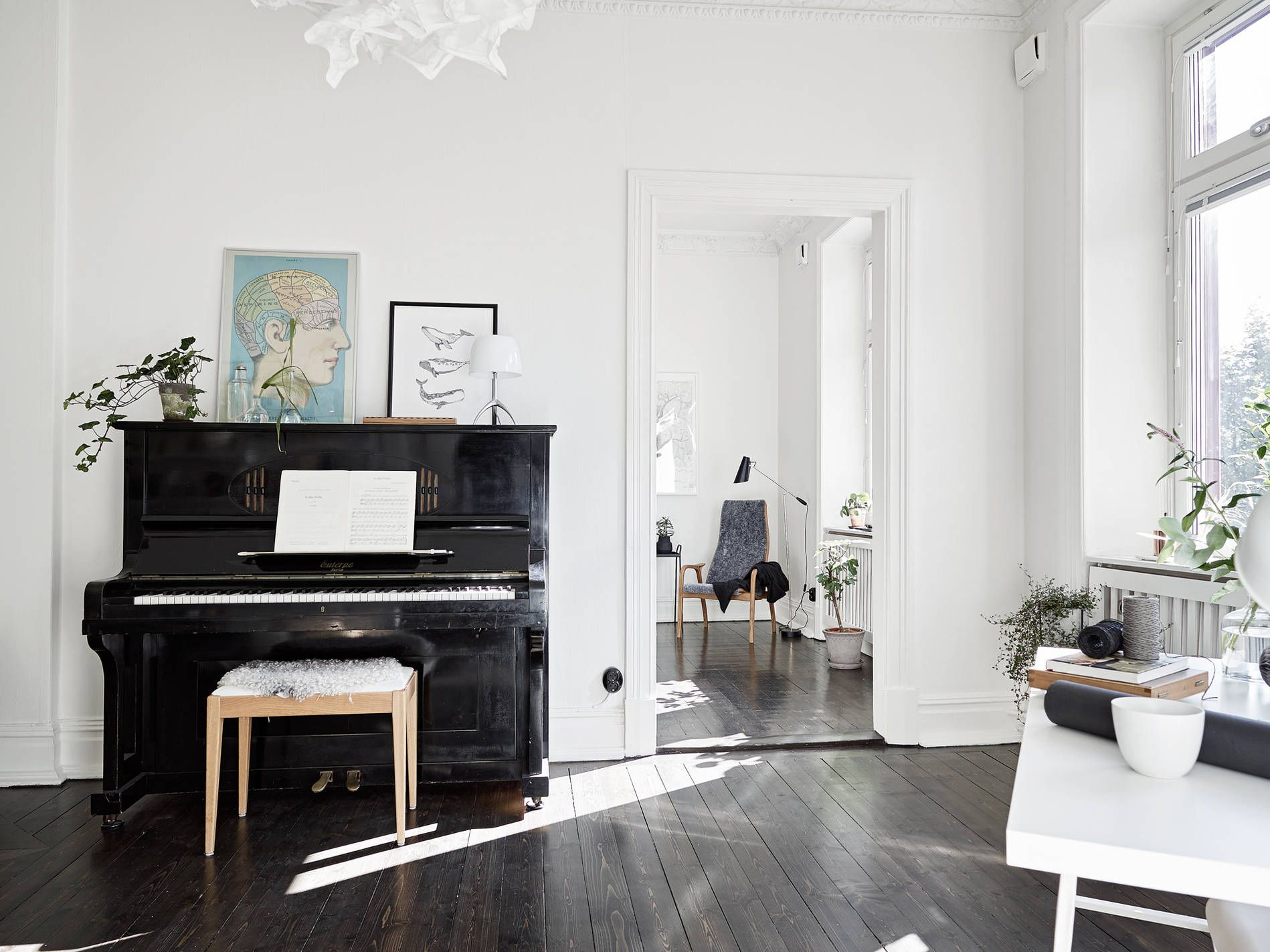 I Like The Dark Floor In This Old Apartment With Decorated Ceilings And Big Windows It Gives The Place Some Dept Brown Living Room Piano Decor Rustic Flooring
