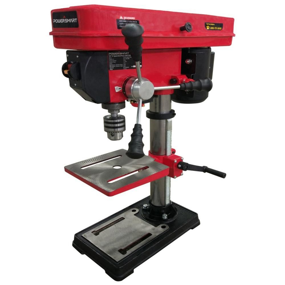 Powersmart 10 In 12 Speed Drill Press With Laser Guide Ps310 Drill Press Speed Drills Precision Drilling