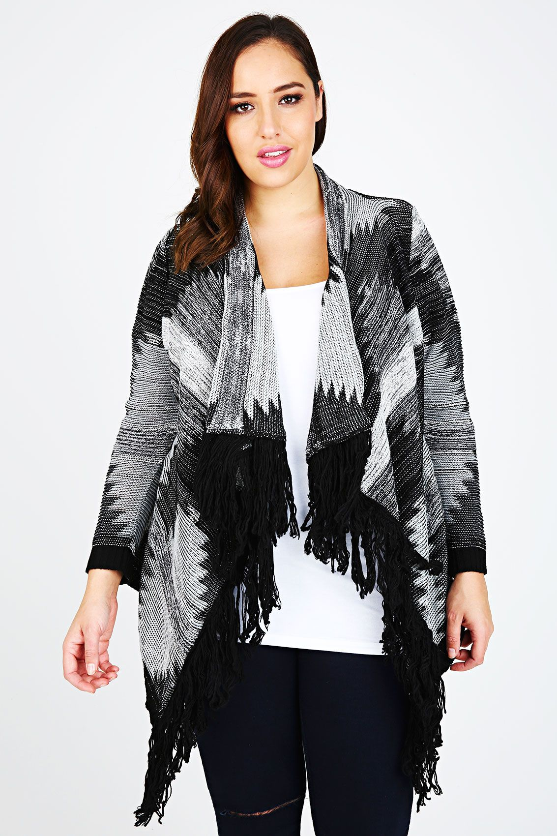 Black & White Aztec Stitch Waterfall Cardigan With Fringe Front ...