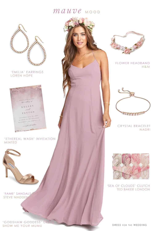 Mauve maxi dress for bridesmaids bridesmaid outfit mauve and maxi