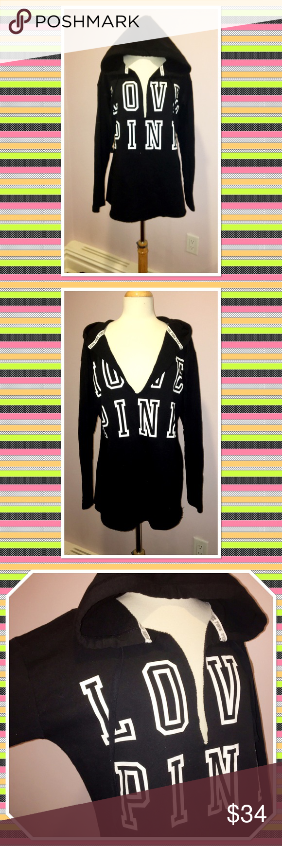 Victoria's Secret PINK Logo Hoodie Sweatshirt Victoria's Secret PINK Hooded Logo Sweatshirt. Longer tunic style. Drawstring hood. Back is plain. Worn once. Perfect condition. 60% cotton, 40% polyester. Victoria's Secret Tops Sweatshirts & Hoodies