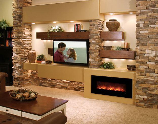 Media Wall With Juno Lights Living Room Tv Wall Modern Flames