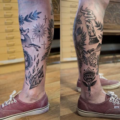 Patchwork Tattoos Black And Grey Tattoos Sleeve Leg Sleeve Tattoo