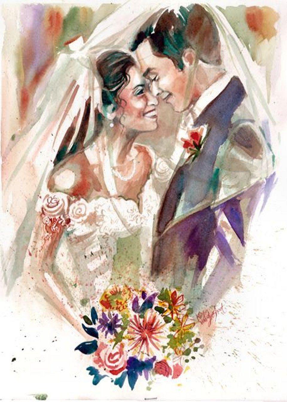жидкие жених и невеста картинки акварелью брендовыми очень