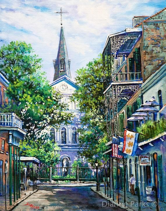 New Orleans Art, St Louis Cathedral, Impressionist Painting Jackson Square, French Quarter, New Orle