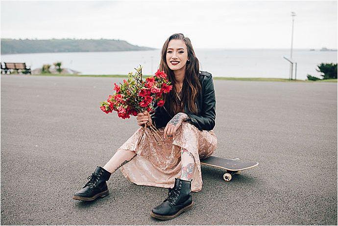 Cool Tattooed Bride, Skateboard Wedding
