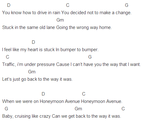 Capo 4 Honeymoon Avenue Chords In 2018