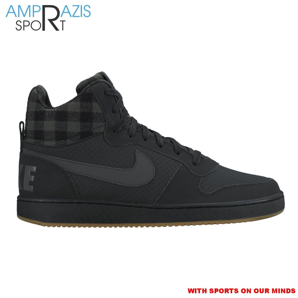 Nike Men\u0027s Court Borough Mid Premium Basketball Shoes (Black/Anthracite/Gum  Light Brown, Size - Men\u0027s Athletic Lifestyle Shoes at Academy Sports
