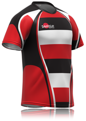 bb6ee1b2bf Red and black stripe variation rugby shirt design by www.samurai-sports.com