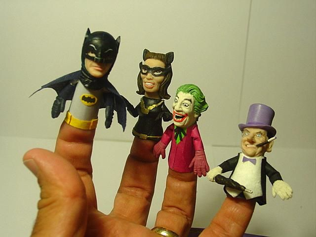 Custom made finger puppets of characters from the 1966 Batman show.  Too cool.
