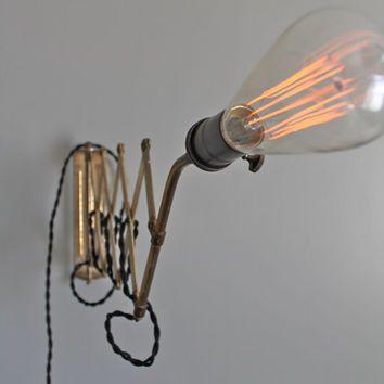 Vintage Industrial Scissor Lamp With Minimalist Edison Light Bulb   Machine  Age Accordion Light Fixture