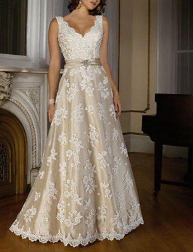 Neu Champagner Spitze Brautkleid Abendkleid Partykleid ...