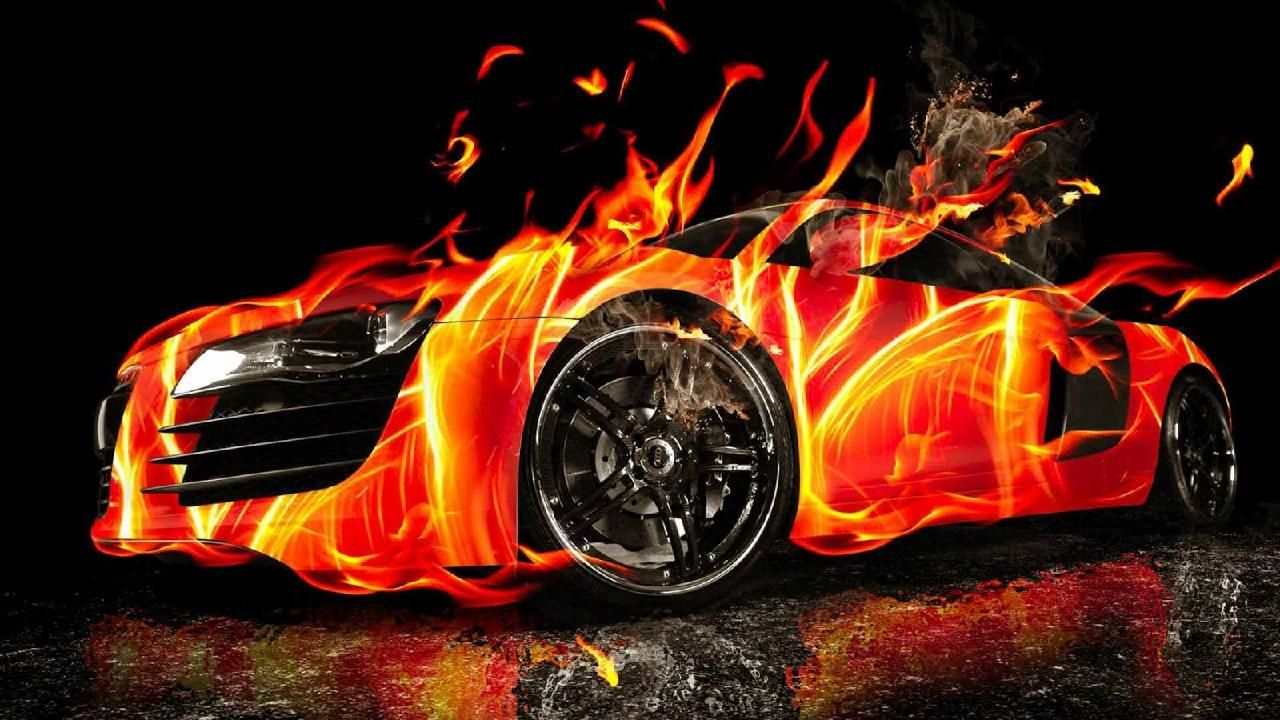 Burning Love Hd Wallpapers: Beautiful 3D Burning Car HD Wallpapers
