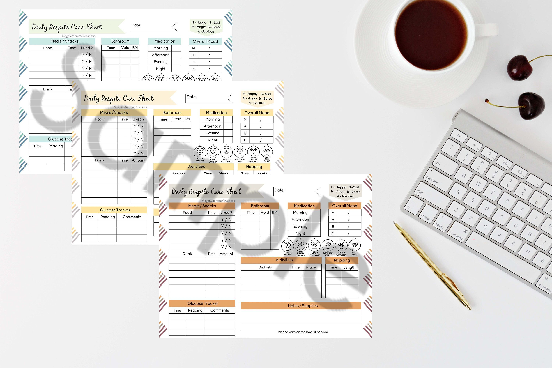 Daily Glucose Tracker Respite Care Sheet, Letter, Respite