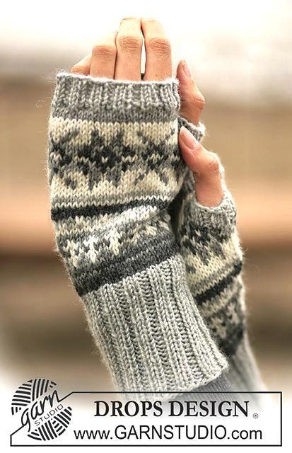 Guantes sin dedos con el modelo DROPS jacquard noruego | Gloves ...