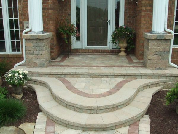front porch stoop ideas front stairs design ideas paver to home axsoriscom - Front Steps Design Ideas