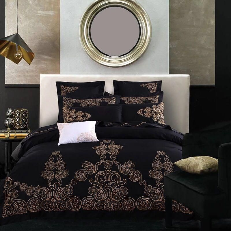 Black Goldern Luxury Royal Bedding Set, Black And Gold Silk Bedding