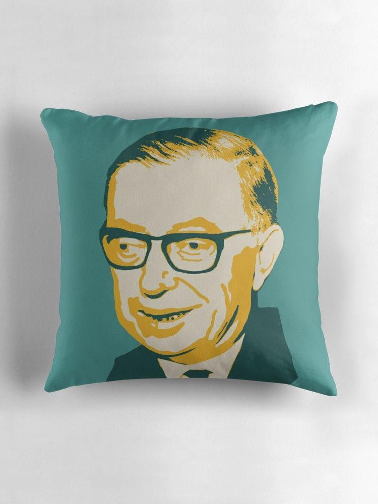 'Jean-Paul Sartre' Throw Pillow by savantdesigns #jeanpaulsartre
