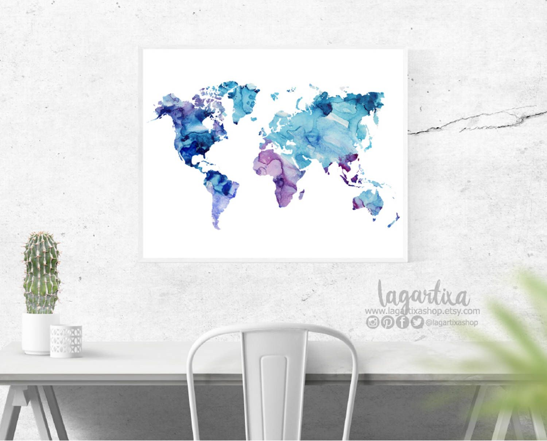 Mapamundo, azul y morado mapa mundo acuarela, tinta y alcohol ...