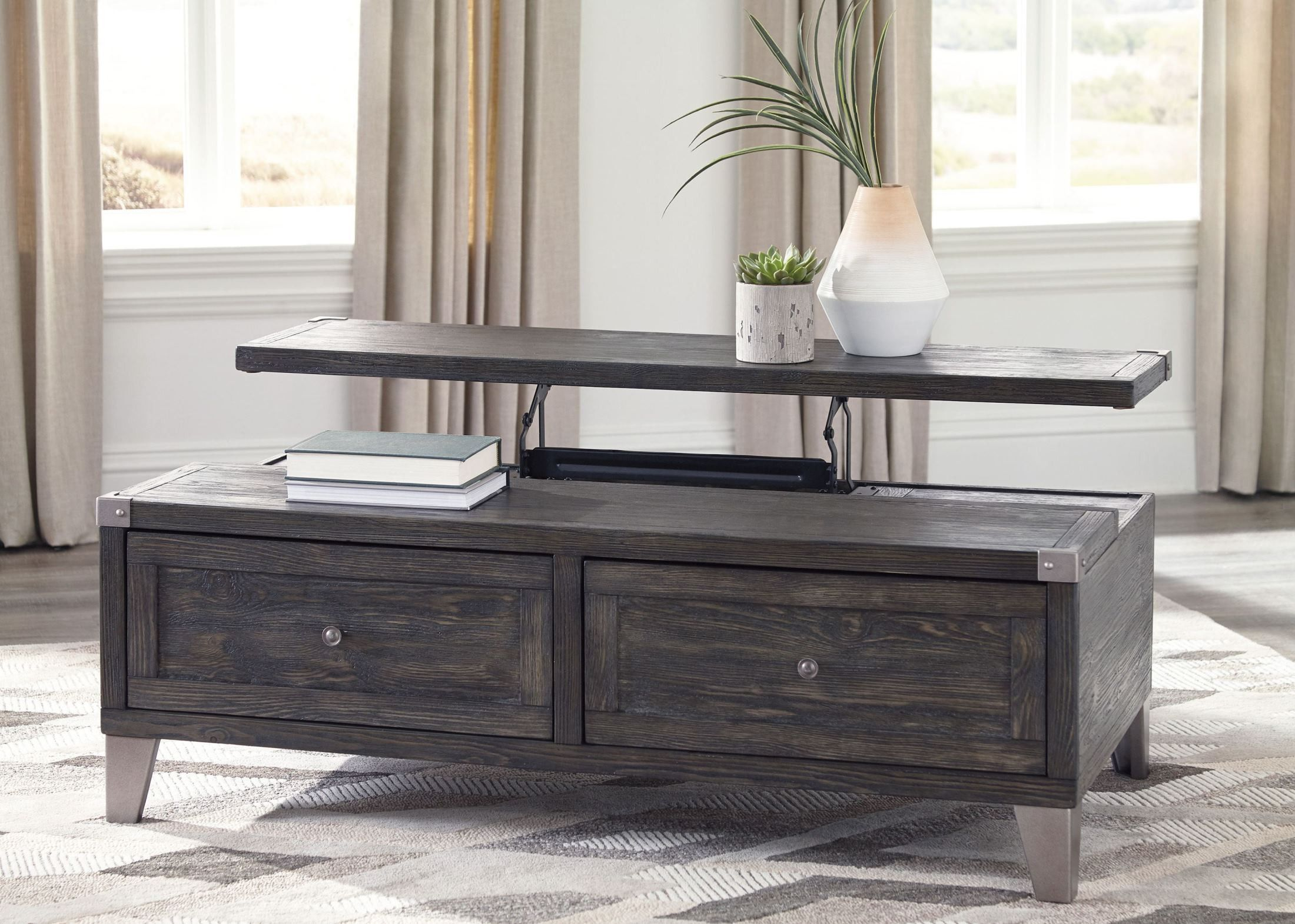 Todoe Dark Gray Lift Top Cocktail Table In 2020 Coffee Table