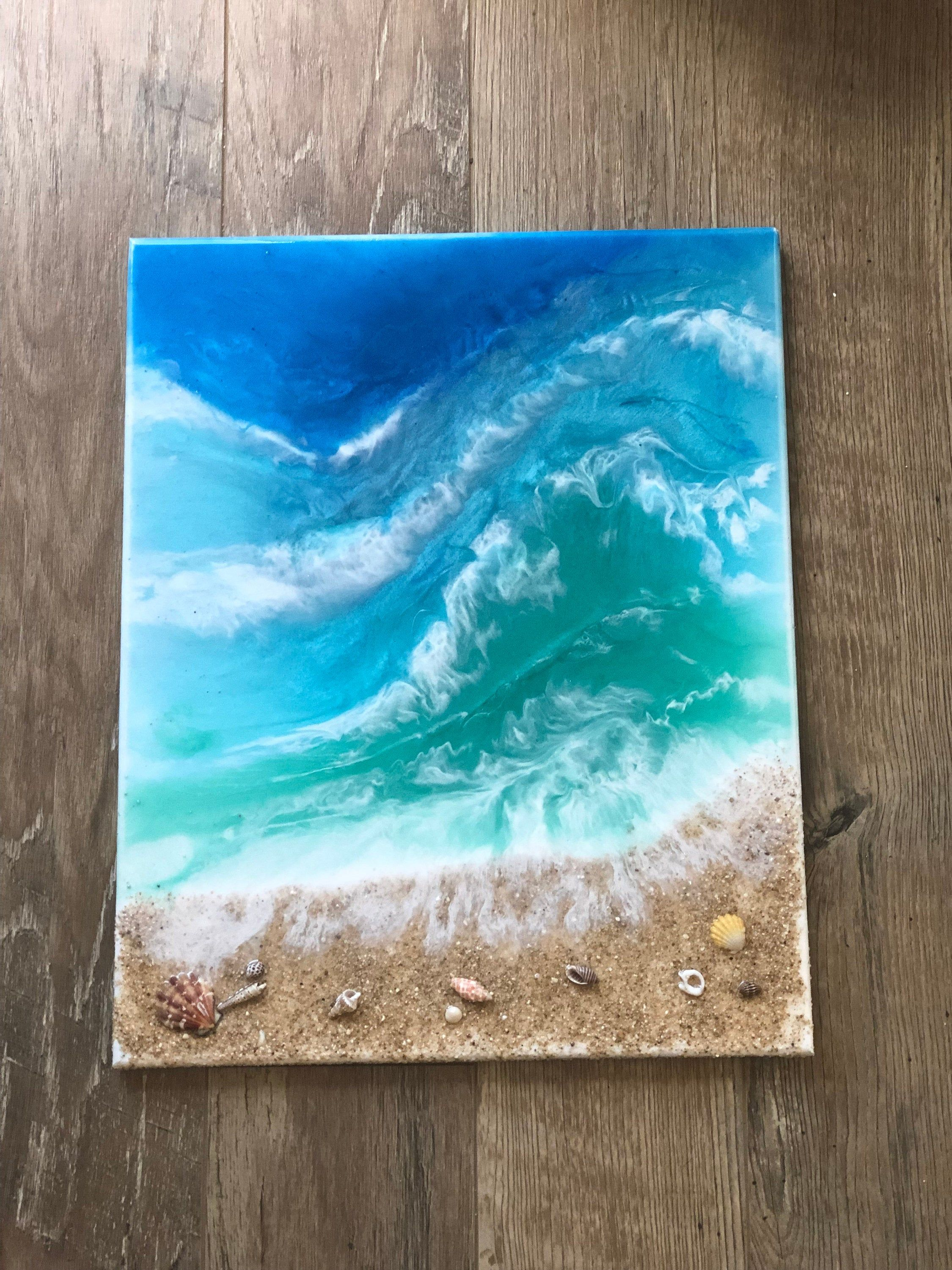 Beach Please Wooden Wall Hanging Hand Painted with Cameo Vinyl