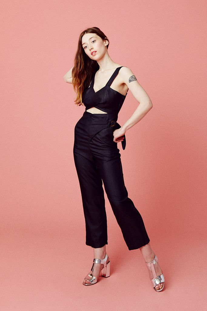 This is the perfect black jumpsuit to fall in love with. The thoughful signature hand draped style wraps around you body for a super flattering cut. It's made in the softest 100% silk broadcloth. The