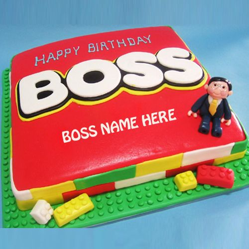 Write Name on Happy Birthday Boss Cake Picture HBD Cake