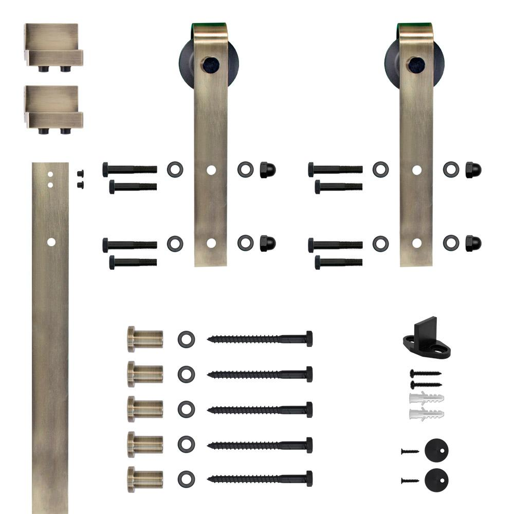 Soft Close Hook Strap Antique Brass Rolling Barn Door Hardware Kit With 2 3 4 In Wheel Nt140009w03sc Barn Door Barn Door Hardware Rolling Barn Door
