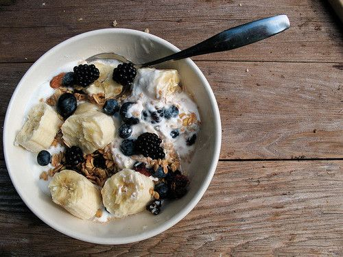 Homemade cereal with bananas and berries -  yum!