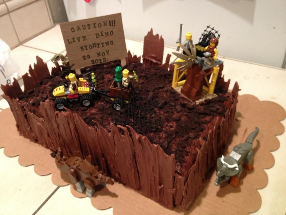 Outstanding Lego Dinosaur Themed Cake For My 6 Year Old Boy With Images Funny Birthday Cards Online Unhofree Goldxyz