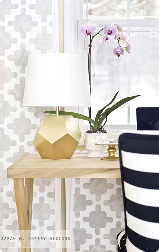 DIY Geometric Faceted Lamp Base {Land of Nod knock off}