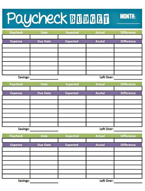 Livin Paycheck To Paycheck  Free Printable Budget Form  Create