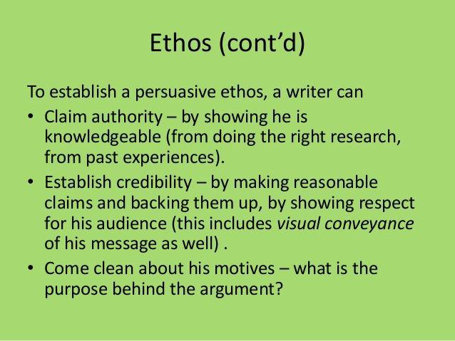 how to establish ethos in an essay
