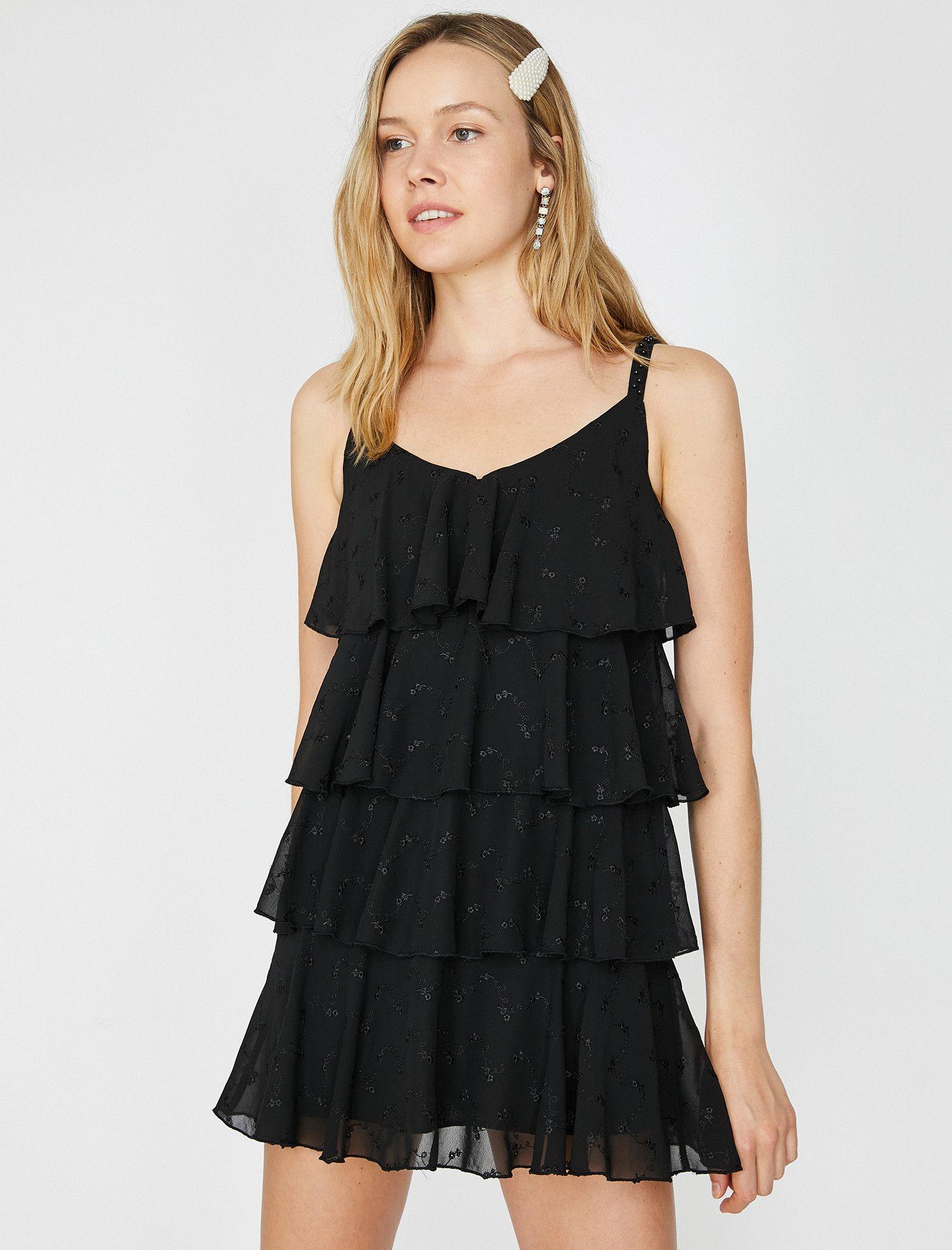 Koton Koton Kadin Firfir Detayli Elbise Mini Elbise Elbise Siyah Elbise