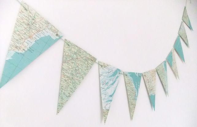 British Map bunting - British Atlas Bunting - Eco-friendly bunting garland #folksy