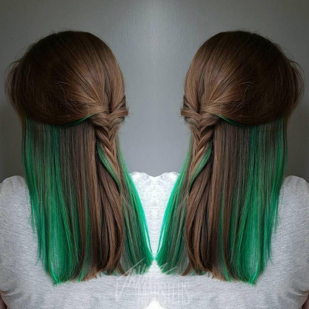 20 Ways To Rock Green Hair Green Hair Peekaboo Hair Peekaboo Hair Colors