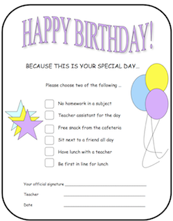Give Happy Birthday choices to kids at school! Put these in your back to school folder!