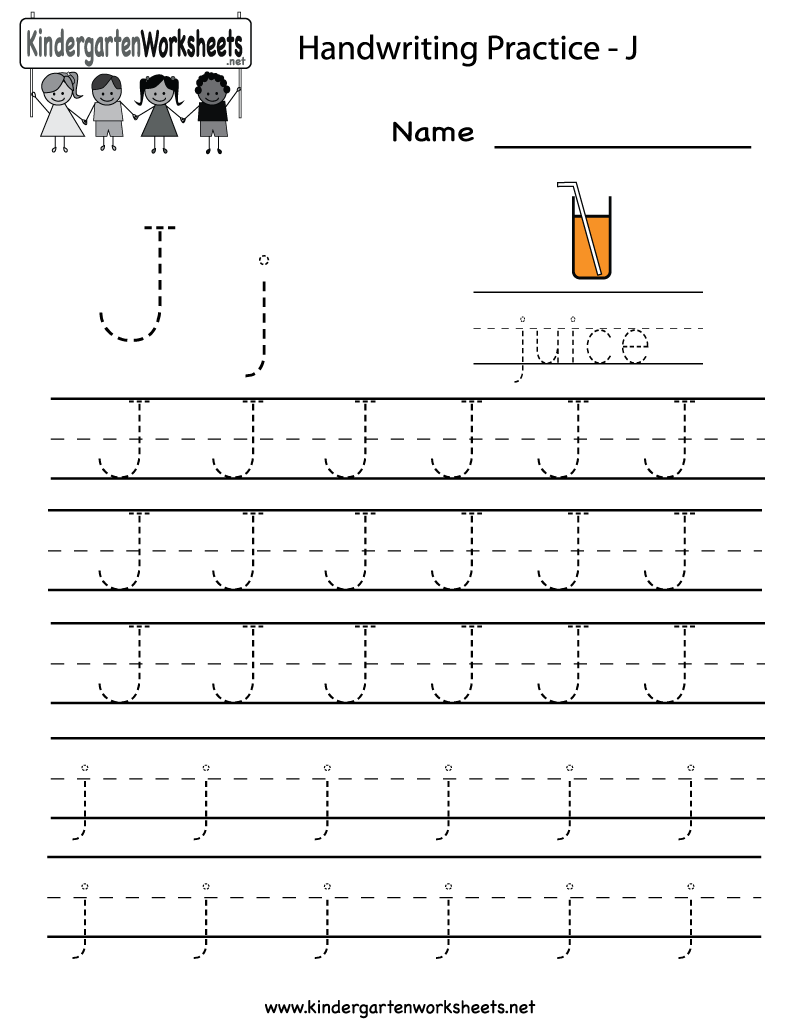 Great 10/8/13 Both Need To Practice Letter Formation. Did 4 Each. Kindergarten  Letter J Writing Practice Worksheet Printable